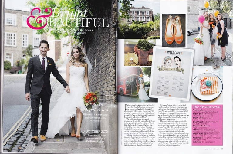 You And Your Wedding Magazine Feature - Abi & Ian's City Chic Wedding 1