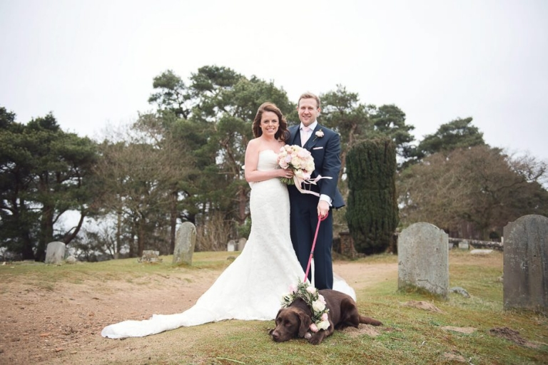 Wedding at St Martha's On The Hill with Molly the family dog wearing a beautiful flloral garland