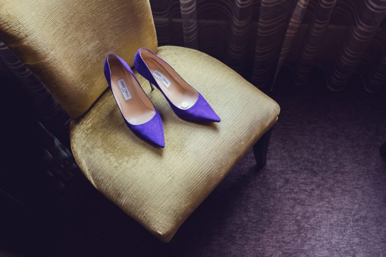 Purple suede Jimmy Chhol brides shoes-1