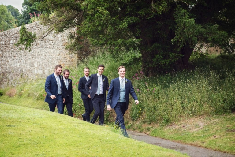 The grooms party arrive at church
