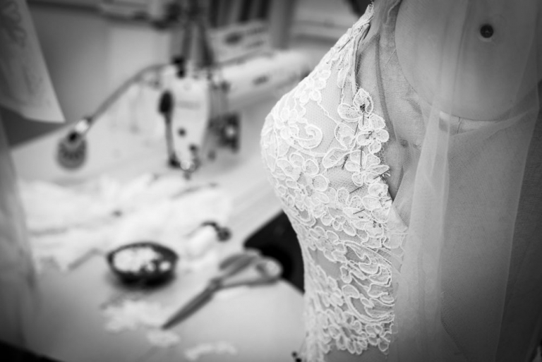 Suzanne neville wedding dress production London England
