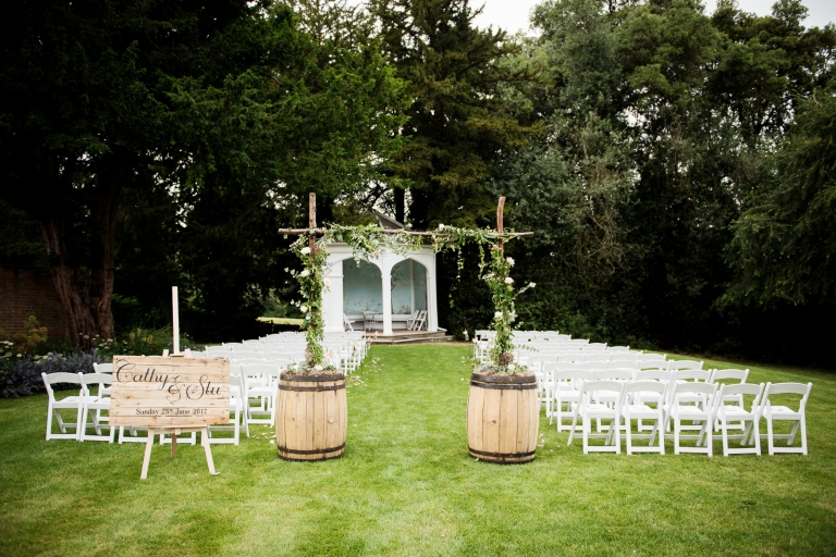 A Summer wedding in the pavilion at Wasing Park.