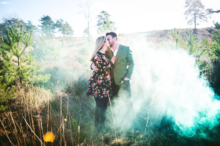 Smoke bomb engagement session