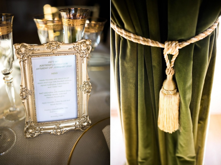 Gold tones for an opulent birthday party in Surrey
