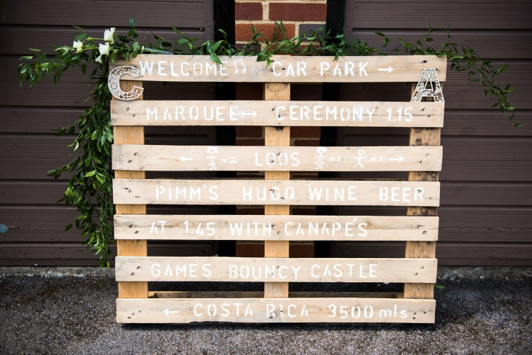 DIY wedding sign made from palette.