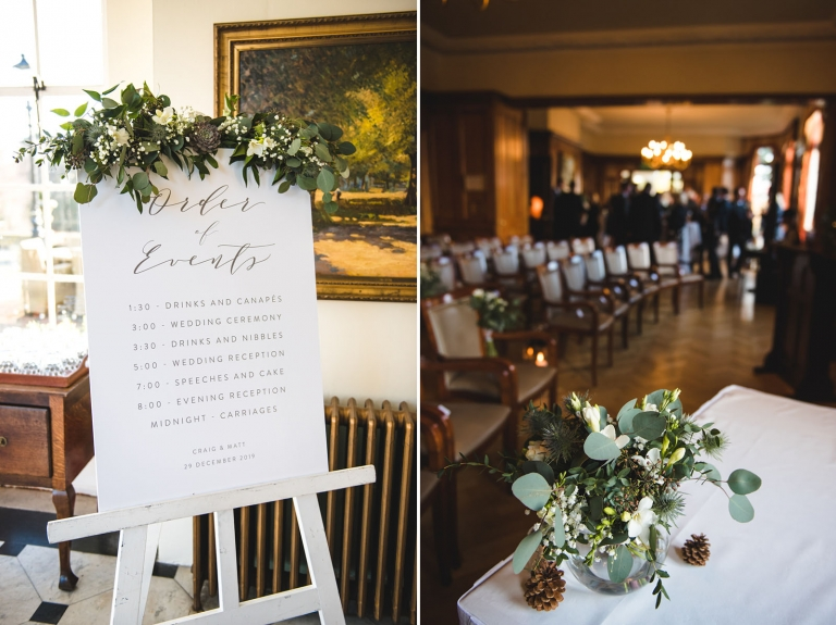 Pennyhill Park library wedding ceremony.