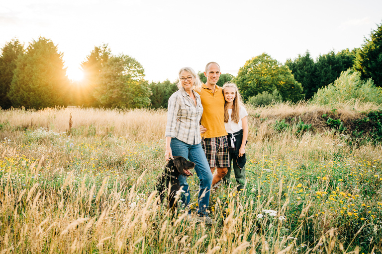 Family and pet dog summer photo session