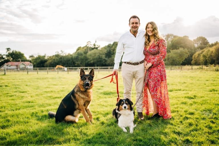 Engagement shoot with pet dogs.