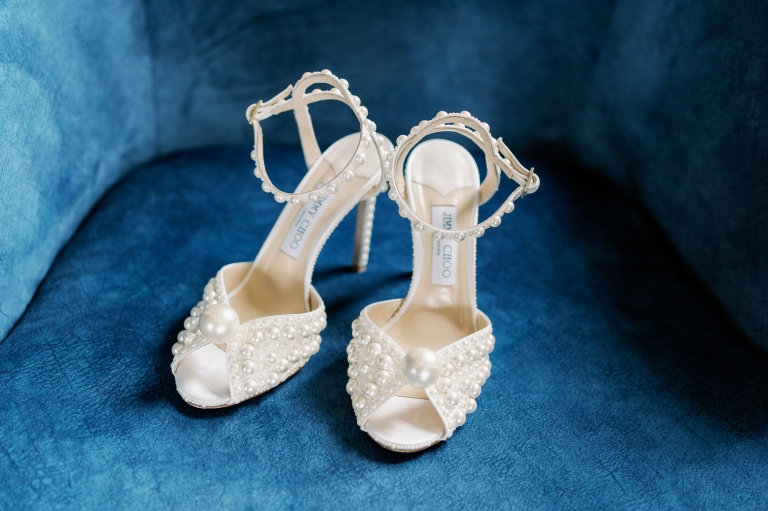 Jimmy Choo SACORA 100 White Satin Sandals with All Over Pearls.